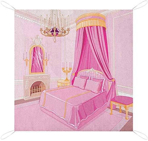 Nomorer - Mantas de picnic de princesa, impermeable, plegable, interior de la princesa mágica, decoración antigua, almohada de espejo personalizado para picnic, color rosa amarillo