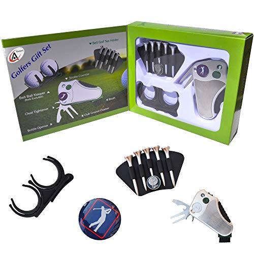 Mejor regalo del golfista set: Golf herramienta - stroke contador, arreglapiques y marcador para reparación, cepillo, marcador de bola, cinturón de soporte - Idea de regalo para hombres mujeres