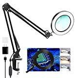 """Arsir Magnifying Glass with Light Clamp - 5X Magnifier 29"""" Swing Arm Hand Free Desk Lamp with 80 LED Light&3 Color Mode for Close Work, Seniors Reading,Crafts,Soldering,Painting,Repair,Jewelry,Sewing"""