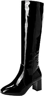 VulusValas Women Block Heel Knee High Boots Zip
