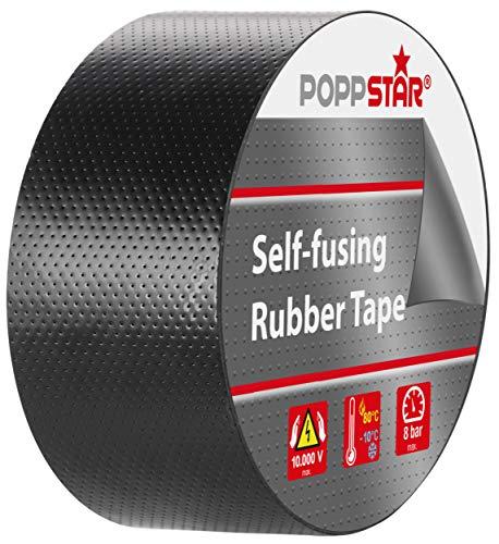 Poppstar 1x selbstverschweißendes Universal Isolierband und Dichtungsband, LxBxH 5m x 38mm x 0,76mm, schwarz