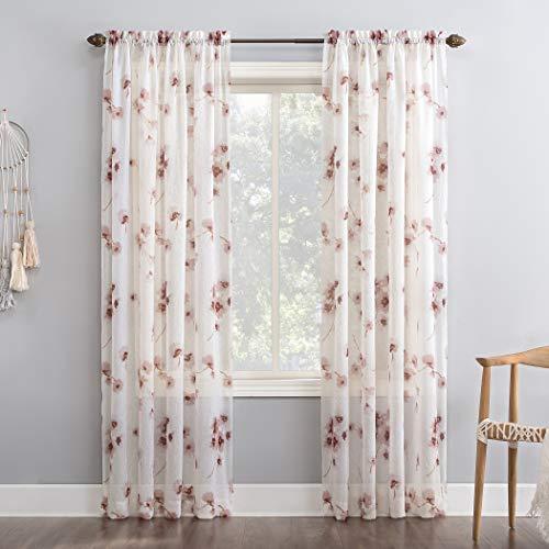 "No. 918 Kiki Floral Crushed Voile Sheer Rod Pocket Curtain Panel, 51"" x 84"", Blush"