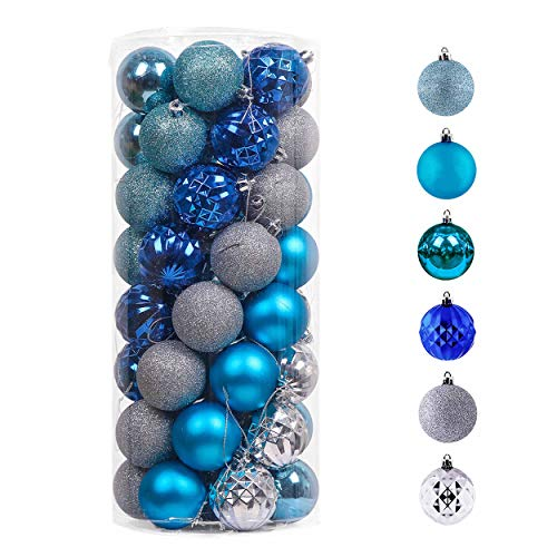 Valery Madelyn 50ct 60mm Winter Wishes Blue Silver Shatterproof Christmas Ball Ornaments Decoration,Themed with Tree Skirt(Not Included)