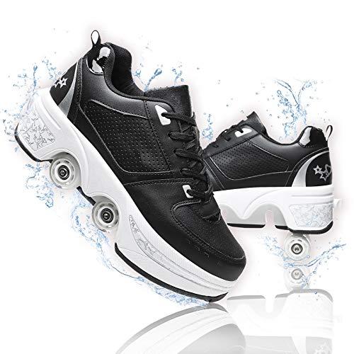 Dytxe-shelf Patines De Ruedas Niños Zapatos De Rodillos Retráctil Patines Cuádruples Rueda De Deformación Patinaje Zapatos sobre Ruedas Doble Fila para Correr al Aire Libre