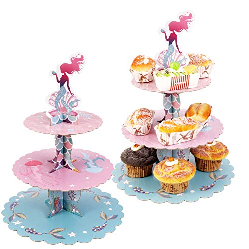 JOELELI 3Tier Cardboard Cupcake Stand Mermaid Cupcake Tower for 24 Cupcakes Birthday Cupcake Tower for Party Decorations 2 Packs
