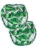Tuga Niños Reutilizable Swim Pañales 2-Pack, UPF 50+ Sol Protección bañadores - Verde -