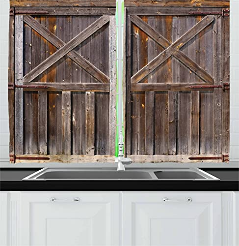 """Ambesonne Rustic Kitchen Curtains, Old Wooden Barn Door of Farmhouse Oak Countryside Village Board Rural Life Photo Print, Window Drapes 2 Panel Set for Kitchen Cafe Decor, 55"""" X 39"""", Brown"""