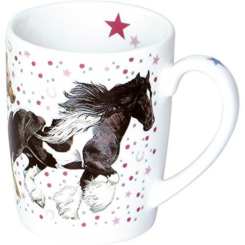 Spiegelburg 14913 Porzellan-Tasse 'Pinke Punkte' Pferdefreunde