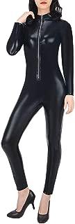 Women's Cat Suit Halloween Costume Zipper Front Wet Look Black Full Body Adult Sized Jumpsuit