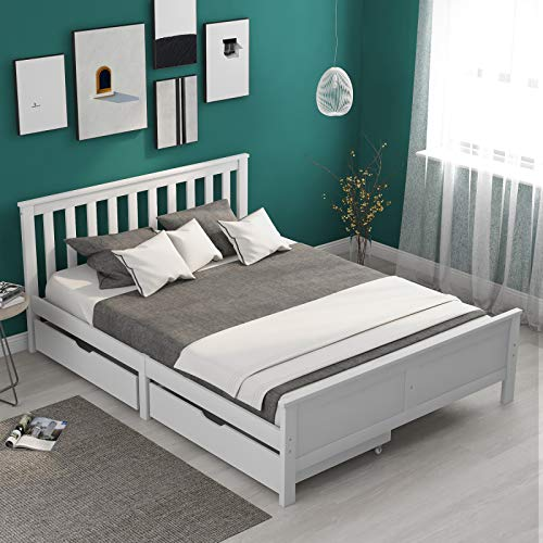jeerbly Single Bed Frame, 4ft6 Wooden Bed Frame Solid Bed White Pine Bed Frame Stoage Bed with Drawers Heavy Duty Single Bed Furniture for Adults Kids, Teenagers White 190x135cm