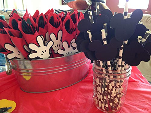 Mickey Mouse Faces and Handy Helper Hands for Birthday Party or Mickey Mouse Baby Shower (24 pieces) Mickey Mouse Clubhouse Cut Outs