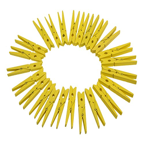 TTOYOUU Set of 72pcs Wooden Color Spring Clothespins Photo Peg Pin Clips (1.8') (Yellow)