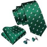 Barry.Wang - Juego de corbatas de seda para hombre Verde verde Talla única