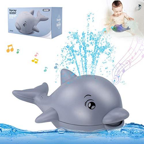 HUSAN Baby Badewannenspielzeug mit Musik Delphin Tier Wasserspielzeug Pool Spielzeug mit Licht Induktion Sprinkler Automatisches Sprühwasser für Kleinkinder, Pool Badezimmer Duschspielzeug (Grau)