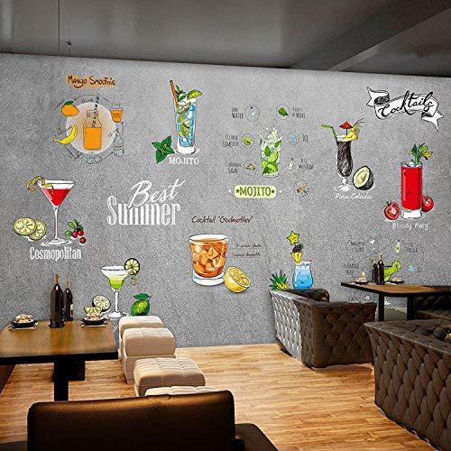 WLPBH zelfklevende 3D muurschildering zomer koel sap drinken behang jongen kamer decoratie kinderen 3D foto muurschildering prinses muurschildering slaapkamer kinderen kamer muur kunst decoratie achtergrond behang 300x210 cm (WxH) 6 stripes - self-adhesive