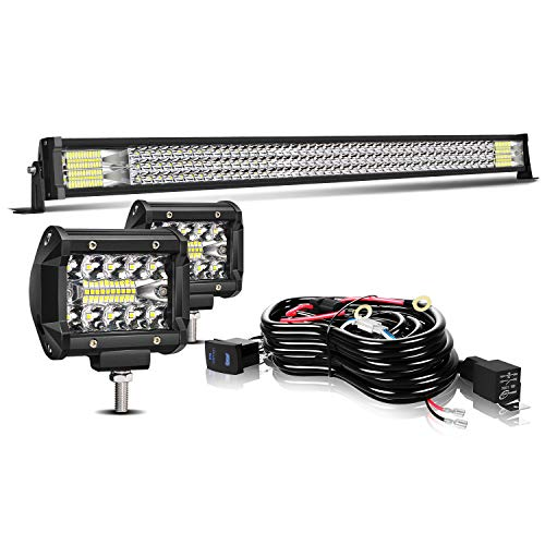 "TURBO SII 42"" LED Light Bar Triple Row 576W Bumper Upper Roof Flood Spot Combo Beam W/ 4in Cube Pods Off Road Driving Fog Lights with Wiring Harness for ATV UTV Boats Trucks Jeep Polaris Toyota Yamaha"