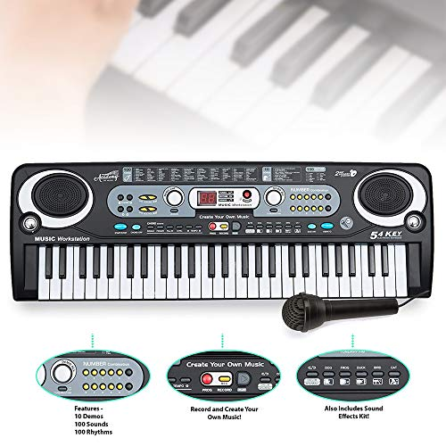 Academy of Music Electronic Keyboard Digital Piano inc Microphone 54 Key...