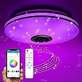 TESECU Plafoniera LED Soffitto Dimmerabile,Starlight Lampada Soffitto con Altoparlante Blu...