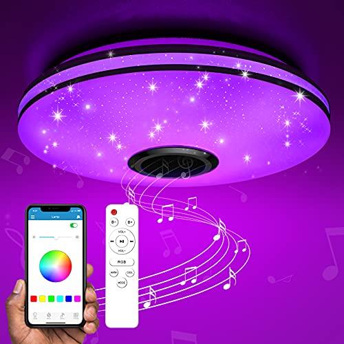 TESECU Plafoniera LED Soffitto Dimmerabile,Starlight Lampada Soffitto con Altoparlante Bluetooth,RGB Lampada Musicale con Cambio Colore,Lampadario Smart con Telecomando e Controllo APP,36W