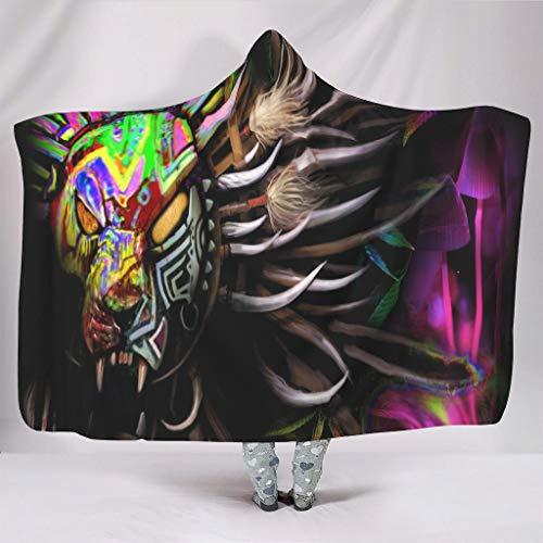 WellWellWell Manta con capucha para adultos y niños, color blanco, 130 x 150 cm