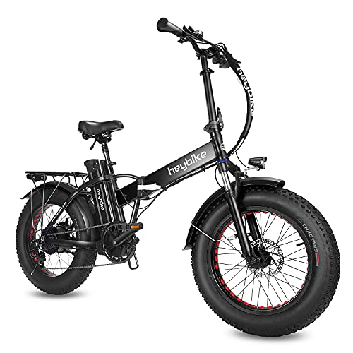 """Heybike Mars Electric Bike Foldable 20"""" x 4.0 Fat Tire Electric Bicycle with 500W Motor, 48V 12.5AH Removable Battery, Shimano 7-Speed and Dual Shock Absorber for Adults"""