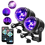 [2 Pack] Litake UV Black Lights 6W LED Disco Ball Party Lights Strobe Light Disco Lights, Sound Activated with Remote Control Dj Lights Stage Light for Halloween Party Bar Club Party Wedding Show Home