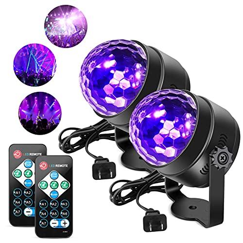 [2 Pack] Litake UV Black Lights 6W LED Disco Ball...