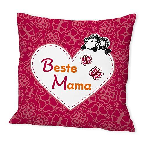 Sheepworld 42552 Baumwoll-Kissen mit Spruch Beste Mama, Geschenk-Kissen, 40 cm x 40 cm