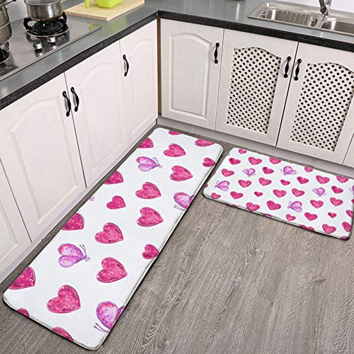Kitchen Mat 2 PCS Cushioned Anti-Fatigue Kitchen Rug Happy Valentine's Day Love Hearts and Pink Butterflies Waterproof Non-Slip Kitchen Mats and Rugs Ergonomic Comfort Standing Foam Mat for Kitchen