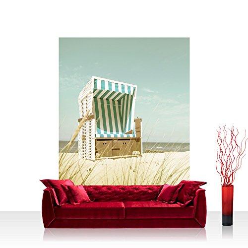 Vlies Fototapete 208x275 cm PREMIUM PLUS Foto Bild Vliestapete - Natur Tapete Strand Sand Sonne Ferien Himmel Strandkorb Korb natural - no. 4586