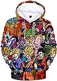 FLYCHEN Sudadera con Capucha Impresa en 3D Dragon Ball para Hombre Goku Cosplay Diseños de Cosplay Wu Super Saiyan Pullover - Grupo Amarillo - M