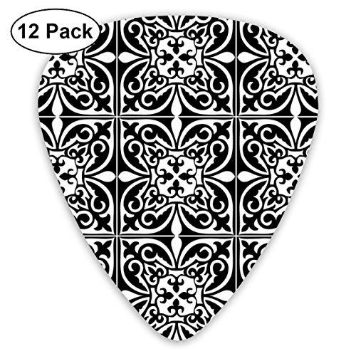 Gitaar Pick Marokkaanse Tegel - Wit En Zwart 12 Stuk Gitaar Paddle Set Gemaakt Van Milieubescherming ABS Materiaal, Geschikt voor Gitaren, Quads, Etc