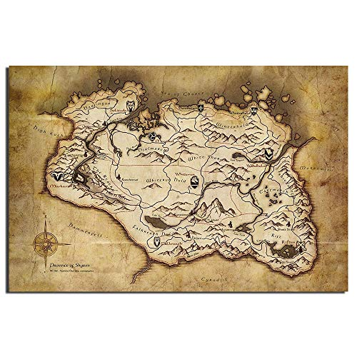 Canvas Painting Skyrim Map Game Poster Canvas Cloth Fabric Print Painting for Home Decor Wall Art Picture Paintings 50x75cm