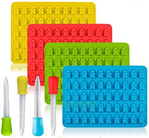 paquet de 4 moules en silicone pour bonbons et plateaux pour glaçons avec 4 compte-gouttes