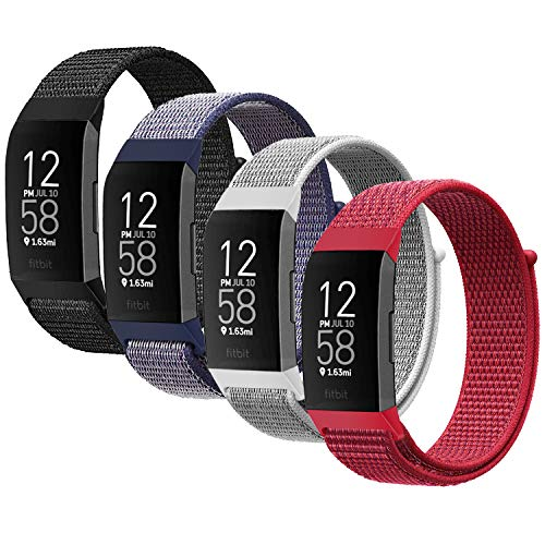 YOUKEX Nylon Watch Band Compatible with Fitbit Charge 3 Band/Fitbit Charge 4 Bands/SE HR Band, Soft Breathable Replacement Wristband Sport Strap with Band for Women Men (4P-2)