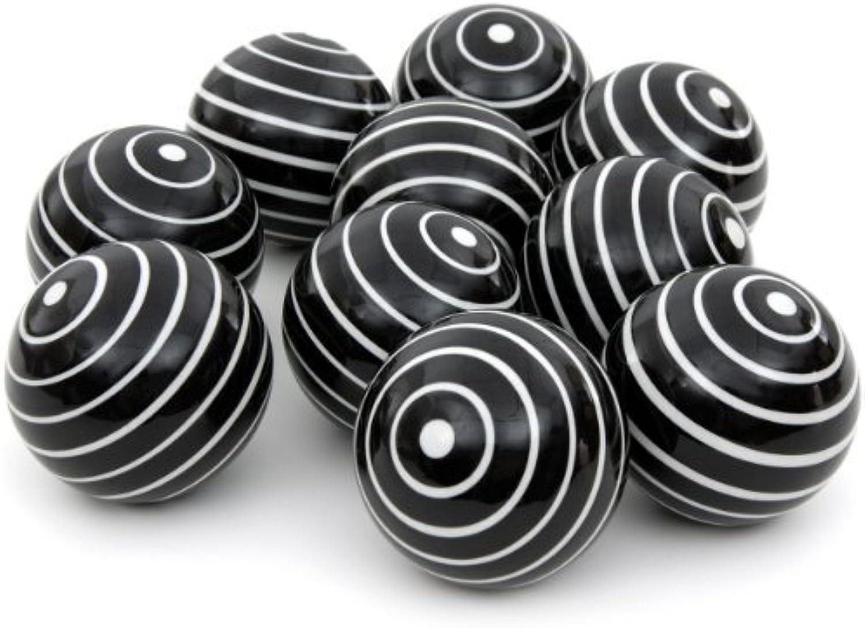 Oriental Furniture 3  White Stripes Porcelain Ball Set