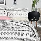 NTBAY Microfiber Duvet Cover Set, 3 Pieces Ultra Soft Zipper Closure Black and White Bedding Set, Queen Size, Bohemia