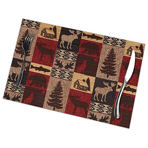 Lodge Bear Deer Fish Print Placemats - Dining Table Place Mats Set of 6 Easy to Clean Durable Non-Slip Kitchen Table Mats Heat-Resistant Coffee Mats(18' X 12')
