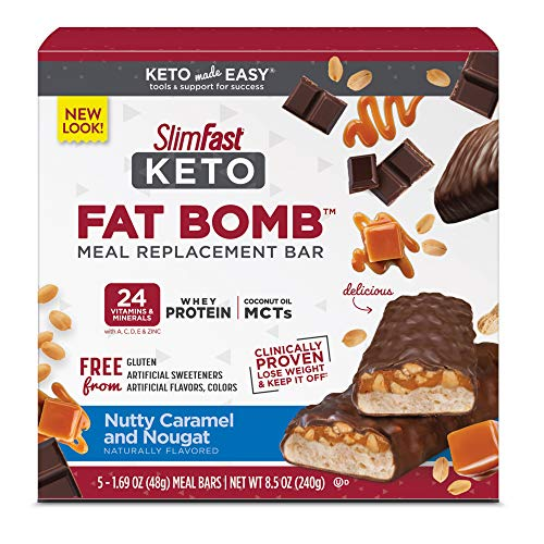 SlimFast Keto Meal Replacement Bar- Pantry Friendly, Nutty Caramel & Nougat, 5 Count from Glanbia Performance Nutrition