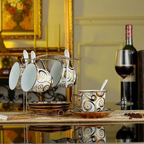 MSNLY Juego de Tazas de café Europeo Simple, Juego Creativo de 4 Piezas, Juego de 6 Piezas, Juego de Tazas de café de cerámica y cerámica, Juego de 15 Piezas, Taza de café de 16 Piezas