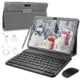 Tablette Tactile 10 Pouces, 4G LTE Call Tablet PC Android 9.0 Go Google Certifié GMS, 3Go RAM + 32Go ROM,Quad Core,8000mAh,5MP 8MP, WiFi/GPS/OTG/Bluetooth Tablettes avec Clavier (Gris)