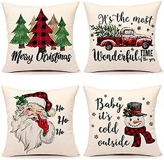 Christmas Pillow Covers 18x18 Set of 4 Farmhouse Christmas Decor Red Black Buffalo Plaids Winter Holiday Decorations Throw...