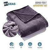 HYSEAS Manta Suave de Microfibra, 150 x 200 cm, Gris Oscuro, cálida con...