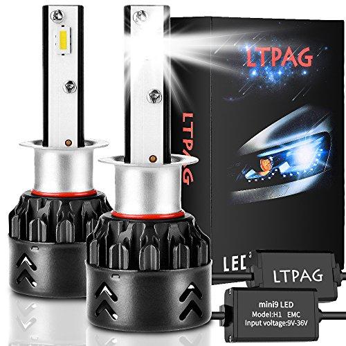 LTPAG Bombilla H1 LED Coche, 2pcs 72W 12000LM Lampara H1 LED 12V/24V Luces LED Coche H1, Faros Reemplazo de Halógena y Kit Xenón H1, Blanco 6000K, Garantía de 2 años