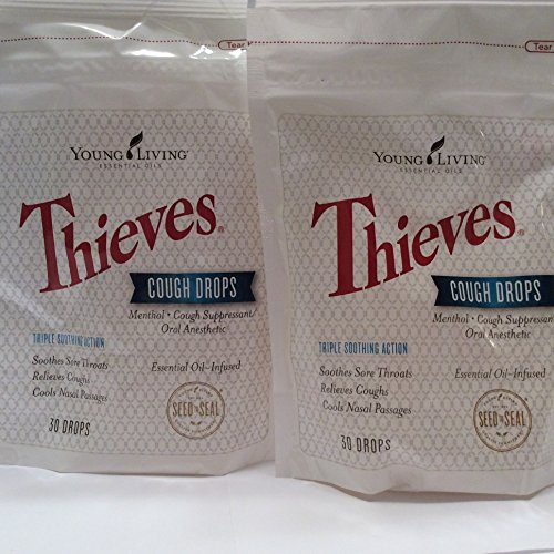 Thieves Cough Drops 30 Ct ( 2 packages ) Essential Oil Infused by Young Living Essential Oil
