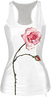 VESKRE Women's Summer Sleeveless Slim Tank Tops Ceramic Printing Blouse
