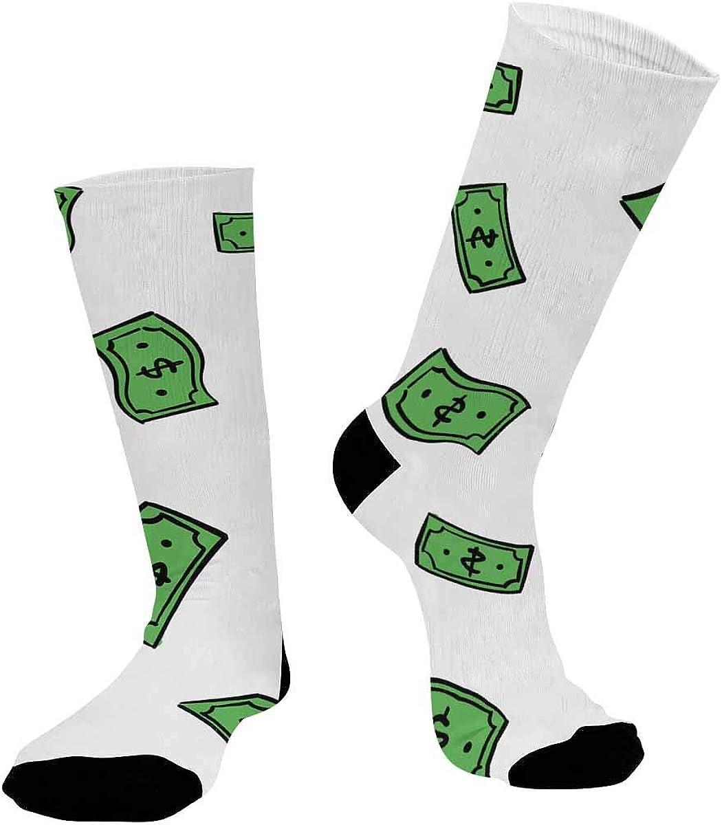 INTERESTPRINT Athletic Sublimated Crew Socks for Adults Money Rain