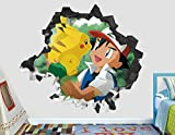 HUGF Stickers muraux Pokémon sticker mural décoration enfants smashed 3d autocollant art vinyle