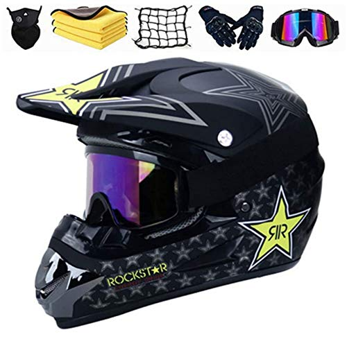 SYANO Motocross Helm Kinder,Fahrradhelm Downhill Integralhelm mit Brille Maske Handschuhe Motocross Helme für Mountainbike Moped Bergbuggy Sport Sicherheit (L)