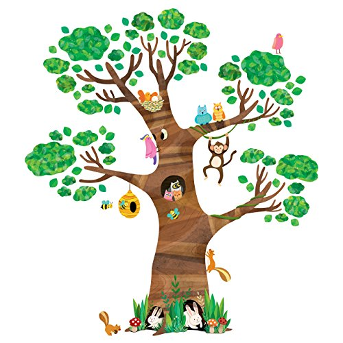 DECOWALL DL-1709 Giant Tree and Animals Kids Wall Stickers Wall Decals Peel and Stick Removable Wall Stickers for Kids Nursery Bedroom Living Room décor